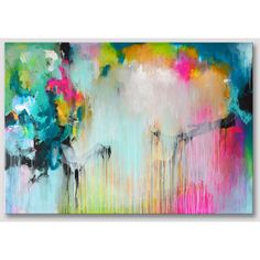 Original extra large abstract painting, bold colors, acrylic painting on stretched canvas, colourful artwork, colorful art fuchsia turquoise (€450) found on Polyvore featuring home, home decor, wall art, abstract wall art, colorful home decor, fuschia home decor, turquoise home accessories and colorful paintings
