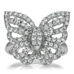 Silver Butterfly Ring - Mariah Carey Inspired Size 6 by The Broome Collection. $96.00. Metal: .925 sterling silver jewelry, Rhodium electroplated.Stone: Cubic Zirconia.Cut: Round cut jewelry.Setting: Pave set jewelry, Prong set.Weight: Approx. 6.0 grams.Dimensions: Butterfly is approx. .75 in. tall by 1 in. wide (19x24mm), Band is approx. 2 mm thick...FYI: .This item is part of our nickel free collection!..