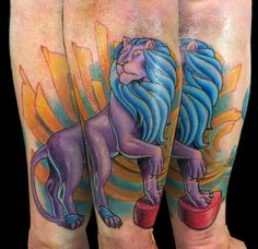 Circus Elephant Head Tattoo Ben's circus lion by sirius-tattoo Head Tattoos, Body Tattoos, Elephant Head Tattoo, Headdress Tattoo, Lion Tattoo, Watercolor Tattoo, Photo And Video, Hashtags, Virginia