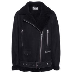 ACNE STUDIOS More Shearling Dark Blue // Shearling jacket in biker... (2,370 CAD) ❤ liked on Polyvore featuring outerwear, jackets, coats, black, coats & jackets, zipper jacket, biker jackets, asymmetrical zipper jacket, biker style jacket and fur trim jacket