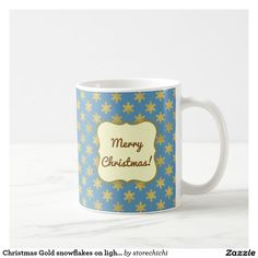 Christmas Gold snowflakes on light teal blue