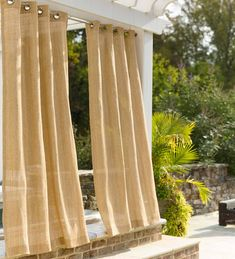All-weather Raffia Outdoor Curtains are a great solution for patio, porch or deck – or anywhere inside. The textured polyethylene fabric is soft with a lovely drape, adding instant style, shade, privacy and definition to any space. Gazebo On Deck, Pergola Swing, Pergola With Roof, Diy Pergola, Pergola Kits, Pergola Ideas, Porch Ideas, Terrace Ideas, Outdoor Pergola