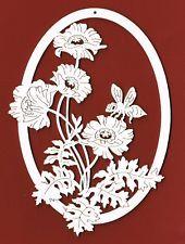 Fensterbild mit Mohnblume und Biene H. 17 cm Holz