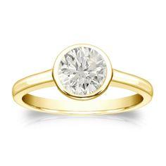 Auriya 18k Gold 3/4ct TDW Round Diamond Solitaire Bezel Engagement Ring (J-K, I1-I2) (White Gold - Size 9), Women's