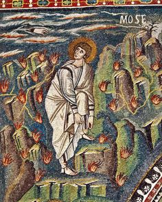 Basilica of San Vitale, Ravenna. Mosaic portrait of a decidedly classical Moses, surrounded by burning bushes, who while tying his sandal looks back over his shoulder at the Hand of God emerging from clouds. Ravenna Mosaics, Scripture Images, Mosaic Portrait, Byzantine Art, Byzantine Mosaics, Burning Bush, Saint Esprit, Moise, Old Testament