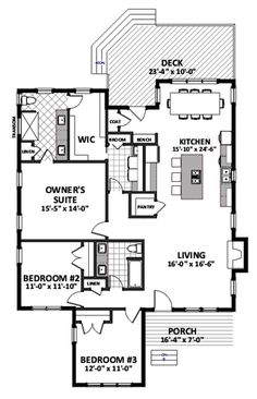 Floor Plan Main Level 3 car garage with upstairs project room / gym Cottage Style Homes, Cottage House Plans, Small House Plans, House Floor Plans, Small Farmhouse Plans, 3 Bedroom Floor Plan, Up House, Basement Flooring, Building A Shed