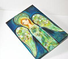 Angel Verde  Greeting Card 5 x 7 inches  Folk Art By by FlorLarios, $5.00
