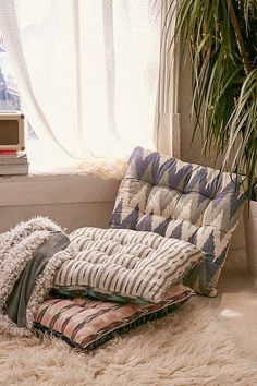 Iris Reversible Ikat Print Floor Pillow