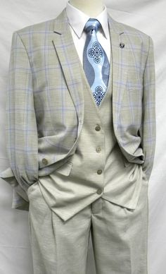 Stacy Adams Khaki Blue Plaid 3 Piece Suit Union Vest Explore Urban Outfitters collection of Dapper Gentleman, Gentleman Style, Sharp Dressed Man, Well Dressed Men, Mens Fashion Suits, Mens Suits, Groom Suits, Groom Attire, Gentlemen Wear
