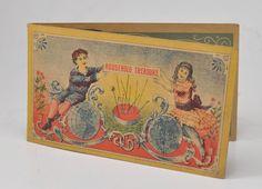 Antique HOUSEHOLD TREASURE Sewing NEEDLE CASE Book Vintage Advertising w Needles