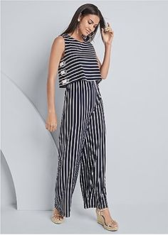 Order a sexy Striped Grommet Jumpsuit by VENUS online or call:1-888-782-2224. Jumpsuit Dressy, White Jumpsuit, Venus Online, Jumpsuits For Women, Fashion Jumpsuits, White Cardigan, Perfect Woman, Wide Leg Pants, Navy And White