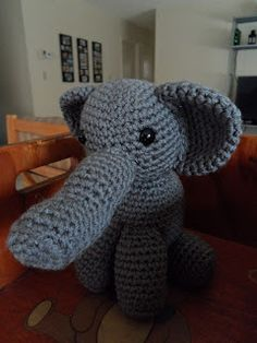 Crochet Crafts: Baby Elephant Tutorial #crochet #freepattern #crafts #elephant