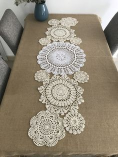 Gorgeous country living hand crochet round floral table doilies, handmade round coasters, floral doilies for doily runner DIY ~ Gift for Mom - tapetes Framed Doilies, Lace Doilies, Crochet Doilies, Crochet Box, Crochet Round, Hand Crochet, Crochet Table Runner, Table Runner Pattern, Diy Gifts For Mom