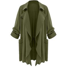 Moss Green Draped Cardigan Lookbook Store ($36) ❤ liked on Polyvore featuring tops, cardigans, green top, drapey cardigan, cardigan top, drapey tops and draped cardigan