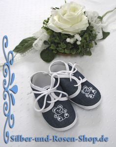 Jungen Babyschuhe Stoff - Silber-und-Rosen-Shop