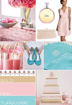 Pink turquoise and gold wedding colours palette,wedding theme