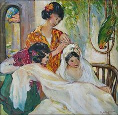 Bride with Two Women and a Parrot - Henri Manguin (French,1874-1949)