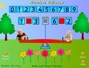 Interactive game for balancing equations  greater than, less than, equal to
