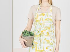 Design by Björn Rune Lie Silk Screen Printing, Mustard Yellow, Overall Shorts, Apron, Turquoise, Kitchen, Cotton, Design, Fashion