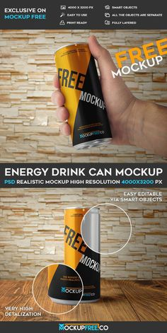 Energy Drink Can – 2 Free PSD Mockup | Free PSD Templates