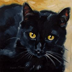 Original oil painting of a black cat with yellow eyes.  8 x 8 inches by Diane Irvine Armitage.