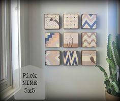 >><< Nursery Art Block l Choose (9) NINE of our Custom Designs 5x5 wood baby children art redtilestudio. via Etsy.