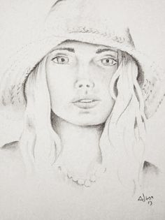 Drawing of Young Womanl in a Hat. Read my commentary at the blog http://portraitsbyadron.blogspot.com/2013/04/drawing-of-young-womanl-in-hat.html