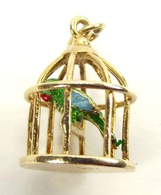Vintage 1969 9ct Gold BIRDCAGE Charm Enamel PARROT On Perch from m4gso on Ruby Lane