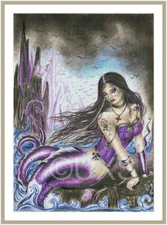 Gothic mermaid fantasy counted cross stitch by UnconventionalX, $15.00