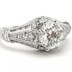 Art Deco Filigree Engagement Ring