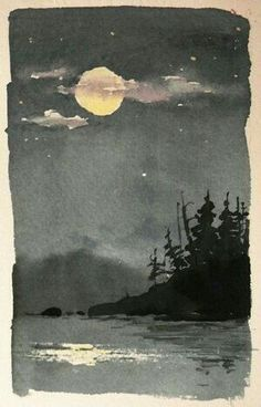 Original Watercolor Landscape Moonlight Reflection by William Spencer