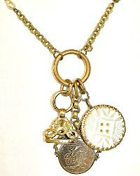 Antique Victorian Gold Mother of Pearl Button & Watch Fob Necklace