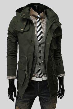 ゝ。Lees Men's Vintage style Removable Hood Safari Jacket Sharp Dressed Man, Well Dressed Men, Komplette Outfits, Cool Outfits, Coat Dress, Men Dress, Mode Style, Style Me, Terno Slim