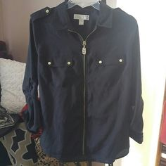 Michael Kors Zip-UP Top! Michael Kors Zip-UP Top! Gold hardware. Preloved. Ready to wear. Michael Kors Tops Blouses