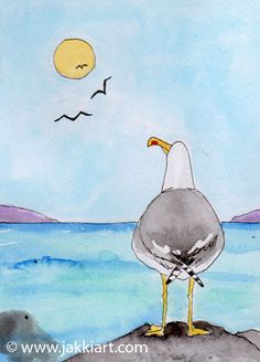 """""""Seagull: Alone Again"""" by Jakki Moore ~ French Inks & Watercolour www.jakkiart.com #Seagull #Alone #Jakki Moore #Seaside A Lone, Seaside, Watercolour, Classroom, French, Bird, Animals, Collection, Laminas Para Decoupage"""