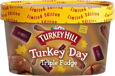NOPE: Turkey Day ice cream with real turkey morsels, swirled with sweet potato, chocolate fudge & cranberry sauce.