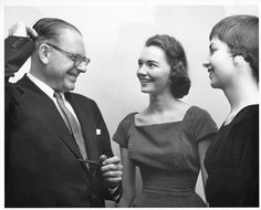 Humorist Bennett Cerf delivered the first lecture of the 1955-56 Salem College Lecture Series on this day in 1955. The lecture took place in Memorial Hall, across from Home Moravian Church. In the above photo, Bennett Cerf (left) is speaking with Martha Duvall (center) and Emily McClure (right). Photo courtesy of Forsyth County Public Library Photograph Collection. Bennett Cerf, Forsyth County, Photograph, Public, College, Memories, Couple Photos, Collection, Photography