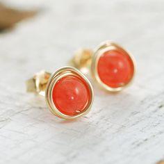 Earrings. Good colours, strong orange, subtle gold.