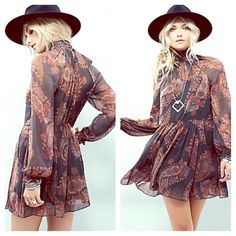 FREE PEOPLE Paisley Chiffon Cocktail Dress NWT NWT AND STUNNING! Retail $128.  Free People Dresses Prom