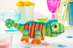This pattern is from Let's Get Crafting magazine. To subscribe click here >>When the summer sun is beating down, Karma the chameleon loves nothing more than taking a rest on a cool leaf. And if she senses danger nearby, her