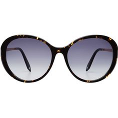 Victoria Beckham Fine Oval Sunglasses ($340) ❤ liked on Polyvore featuring accessories, eyewear, sunglasses, brown, victoria beckham sunglasses, print sunglasses, blue lens glasses, blue lens sunglasses and oval glasses