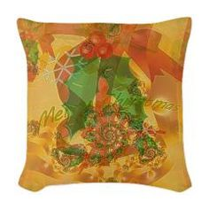 Merry Christmas Bow Woven Throw Pillow> Christmas> Rosemariesw Digital Designs