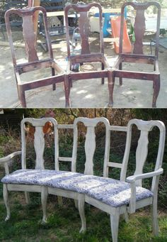 Upcycling old furniture is a great way to avoid purchasing something new. Here are some great ideas to transform those old chairs into a beautiful bench. Old Furniture, Refurbished Furniture, Repurposed Furniture, Furniture Projects, Furniture Making, Furniture Makeover, Painted Furniture, Furniture Design, Bedroom Furniture