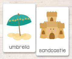 Summer Flash Cards - set of super cute Summer themed flash/vocabulary cards. Vocabulary Cards, Preschool, Playing Cards, Super Cute, Clip Art, Printables, Etsy, Teaching Aids, Learn English