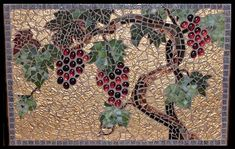 https://flic.kr/p/4ucwoT | Grapevine Mosaic | Hand cut glass in gold, bronze and green and using half marbles as grapes.  SOLD.  www.loridesormeaux.com Please do not use without permission.