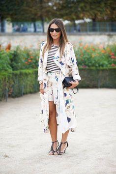 Kimono y bermudas, excelente combinación
