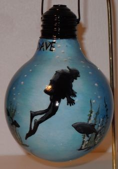 scuba diver 2 on vanity light bulb