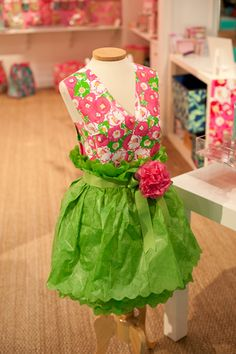 great idea for Center pieces @ CBF fashion show -Lilly paper dress!