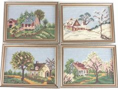 "Lot of 4 Completed Cross Stitch Four Seasons Winter Spring Summer Fall 5.5""x7.5"""