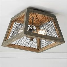 Chicken Wire Square Shade Ceiling Light Weathered wood and chicken wire ceiling light blends the vintage charm of rustic French villas with today's love of geometric shapes! Farmhouse Lighting, Rustic Lighting, Vintage Lighting, Farmhouse Decor, Dyi Lighting, Pantry Lighting, Decorative Lighting, Kitchen Lighting, Ceiling Light Shades